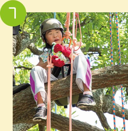 大きな枝に到着したら下にいる木登り先生にお願いして飲み物を木の上まで届けてもらってひと休み♪